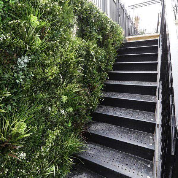 Green Wall Basement Staircase