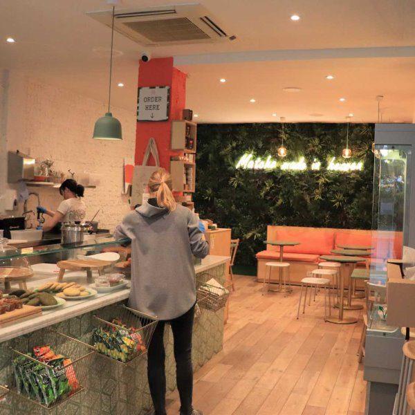 Coffee Shop Green Wall Design